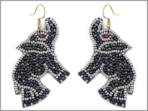 DANGLING SILVER GREY BEAD ELEPHANT EARRINGS ( 3084 )
