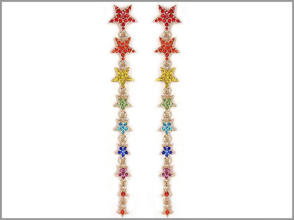 GOLD DANGLING STAR EARRINGS MULTI COLOR STONES ( 3440 GMT )