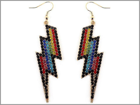 GOLD LIGHTNING BOLT EARRINGS MULTI COLOR STONES ( 3619 GMT )