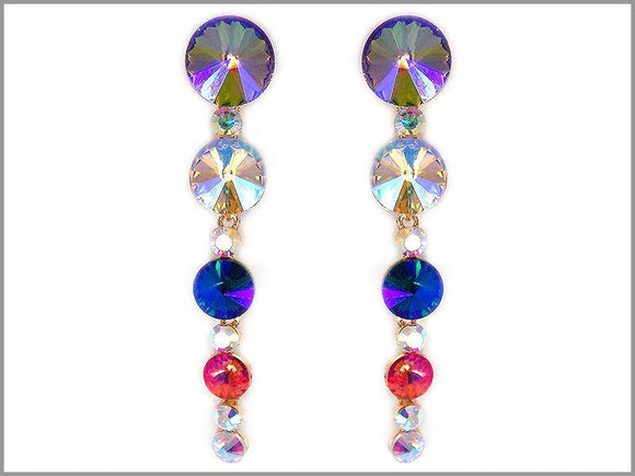 GOLD MULTI COLOR STONE EARRINGS ( 3624 GMT )