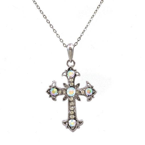 Silver Clear and AB Rhinestone Cross Charm Necklace ( 13184 SAB ) - Ohmyjewelry.com