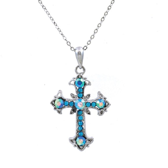 Aqua Blue Rhinestone Cross Charm Necklace ( 13184 )