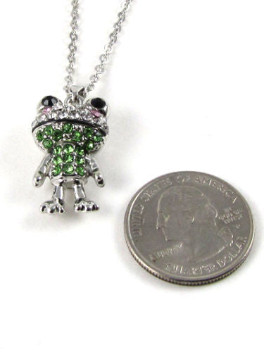 Green Rhinestone Frog Charm Necklace