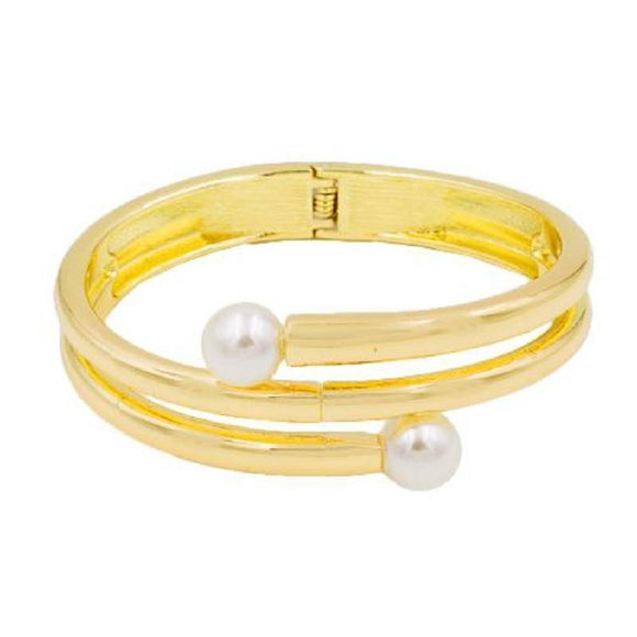 GOLD HINGE BANGLE CREAM PEARLS ( 5401 GD ) - Ohmyjewelry.com