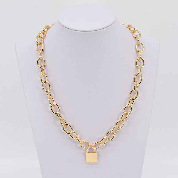 GOLD NECKLACE LOCK PENDANT ( 1017 GOL )