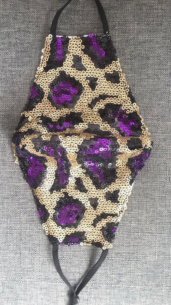 BLACK GOLD PURPLE SERAPE LEOPARD PRINT SEQUIN FACE MASK ( 120 ) - Ohmyjewelry.com