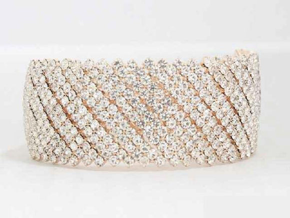 ROSE GOLD CUFF BANGLE CLEAR STONES ( 8706 )