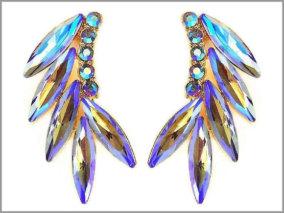 GOLD EARRINGS BLUE MULTI COLOR STONES ( 2950 )