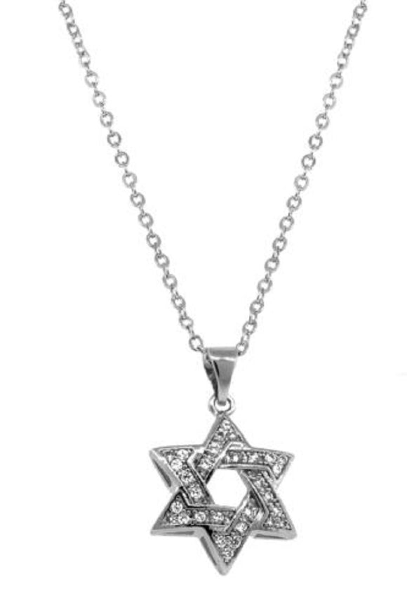 SILVER NECKLACE STAR OF DAVID CLEAR CZ CUBIC ZIRCONIA ( 5907 )