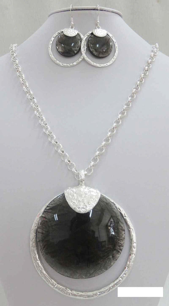 LONG SILVER NECKLACE SET BLACK STONES ( 3714 MSBK ) - Ohmyjewelry.com