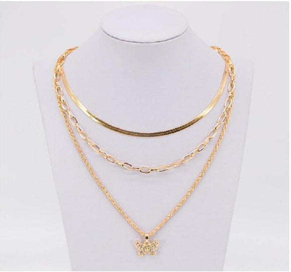 3 GOLD NECKLACE SET BUTTERFLY ( 3801 GLCRY )