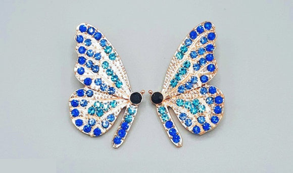 GOLD BUTTERFLY EARRINGS BLUE STONES ( 2360 GDBL )