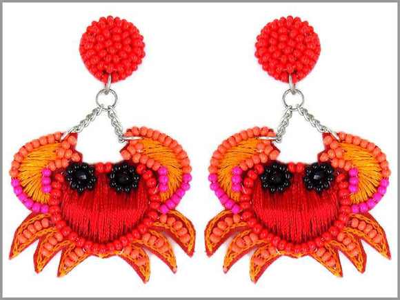 DANGLING CRAB THREAD BEAD EARRINGS ( 3086 )