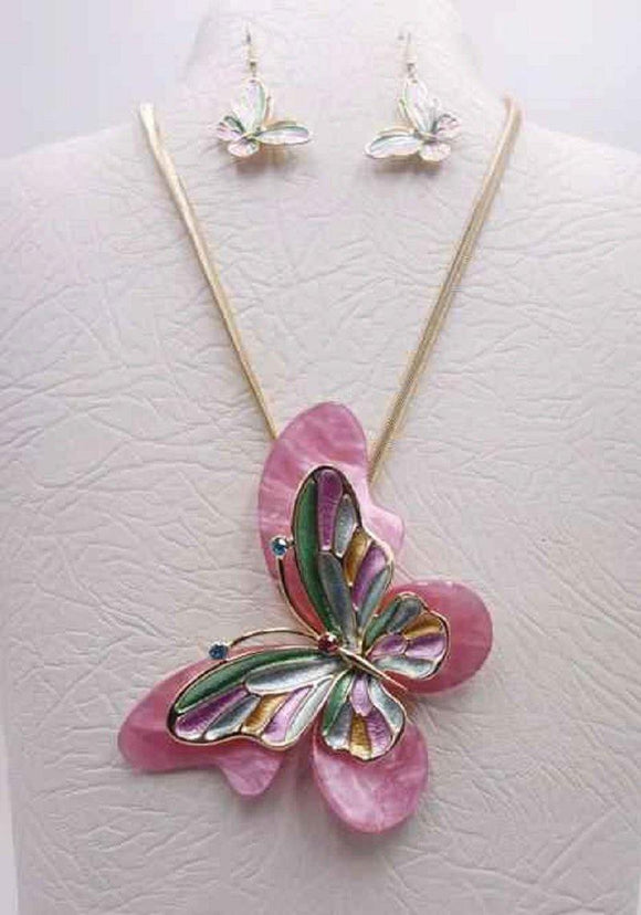 GOLD MULTI COLOR BUTTERFLY NECKLACE SET ( 3680 GMT )