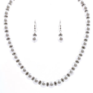 White Pearl and Rondelle Beaded Necklace with Matching Dangling Earrings