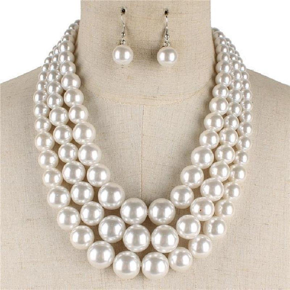 WHITE 3 Layer Graduating Pearl Necklace  ( 0058 WH )