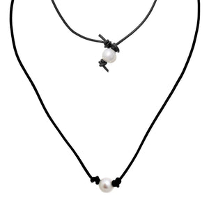"Black Leather 18"" Necklace with Single Freshwater Pearl ( 14941 )"