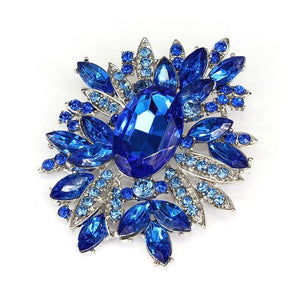 "3"" Silver Royal Blue Rhinestone Oval Brooch ( 0695 )"