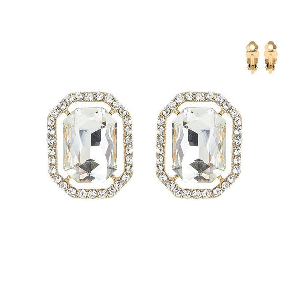 GOLD CLIP ON EARRINGS CLEAR STONES ( 168 GCL )