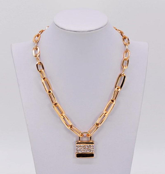 GOLD NECKLACE HEART LOCK PENDANT CLEAR STONES ( 1053 )