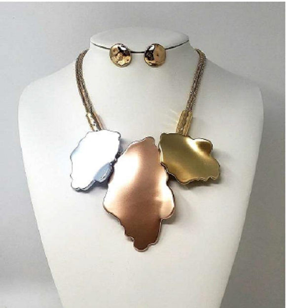 GOLD NECKLACE SET MULTI COLOR ( 10054 )