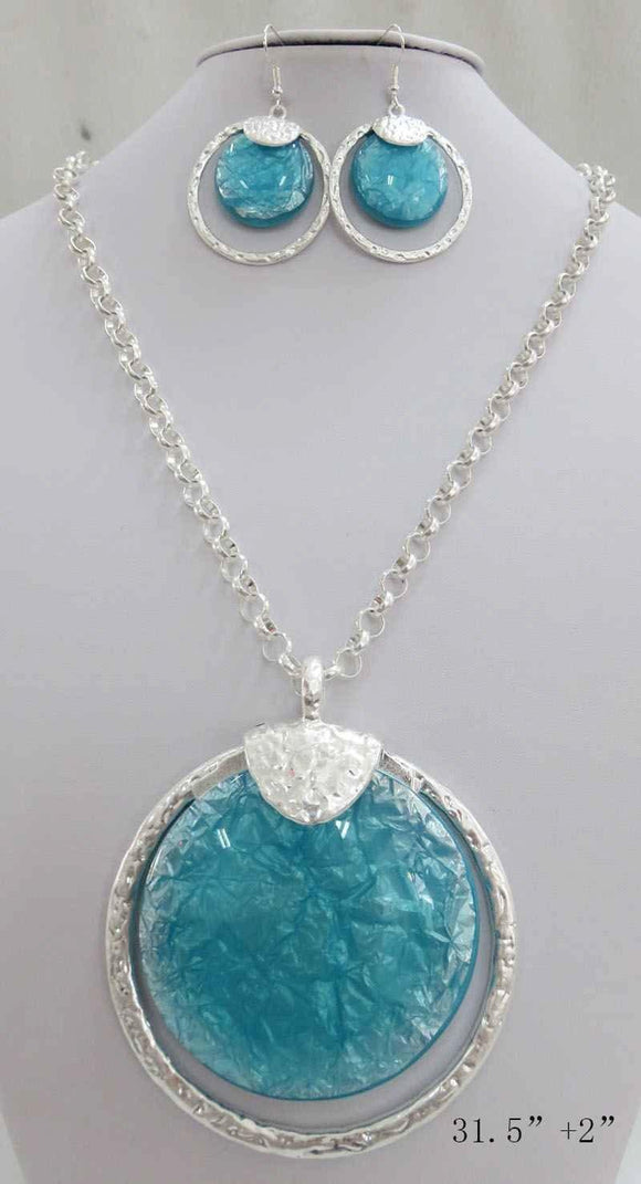 LONG SILVER NECKLACE SET TURQUOISE STONES ( 3714 MSTQ ) - Ohmyjewelry.com