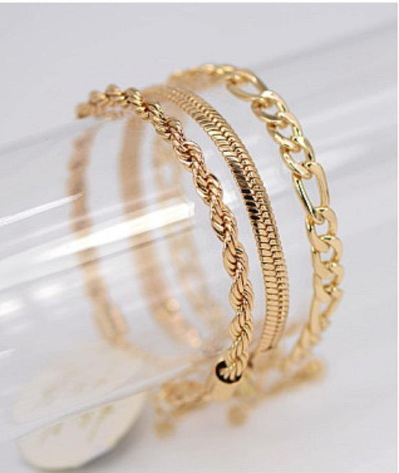 GOLD CHAIN BRACELET SET ( 1028 GOL )