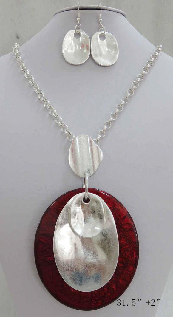 LONG SILVER NECKLACE SET RED PENDANT ( 3708 MSRD ) - Ohmyjewelry.com