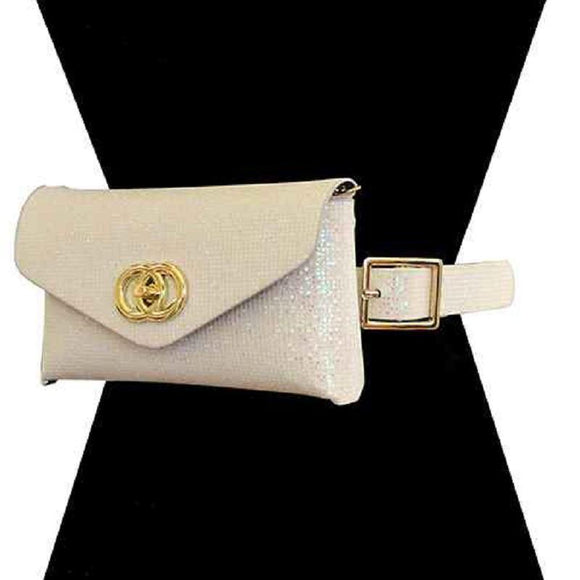 GOLD WHITE AB SHINY LEATHER BAG WITH BELT ( 2527 GDAB )