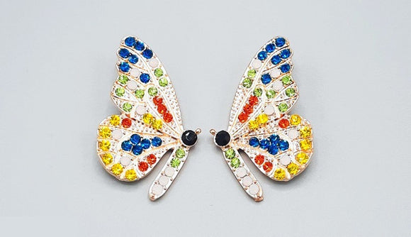 GOLD BUTTERFLY EARRINGS MULTI COLOR STONES ( 2360 GDBLMT )