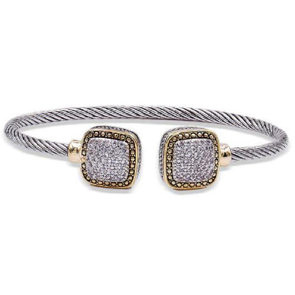 TWO TONED SQUARE PAVE CUFF BANGLE ( 7126 )