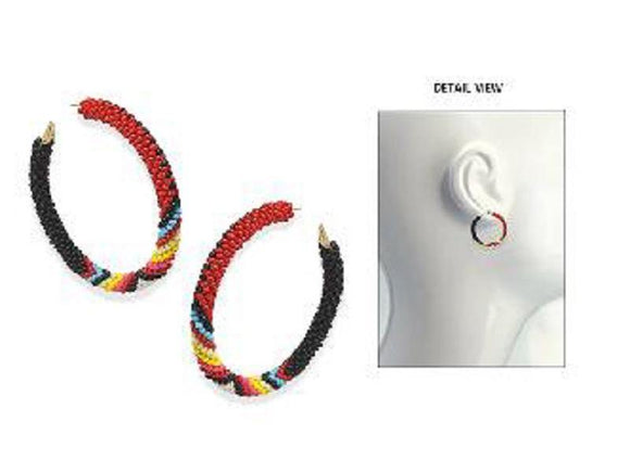 GOLD MULTI COLOR BEAD HOOP EARRINGS ( 3616 GMT )