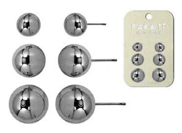 3 PAIR SILVER BALL STUD EARRINGS ( 4049 RH )