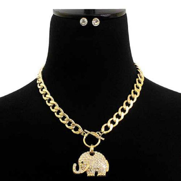 GOLD ELEPHANT NECKLACE SET CLEAR STONES ( 7177 GDCLR )