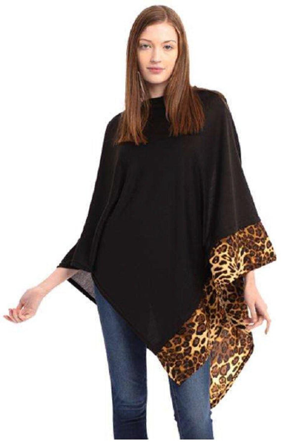 BLACK ALL YEAR ROUND LEOPARD TRIM SOLID PONCHO ( 0089 BK ) - Ohmyjewelry.com