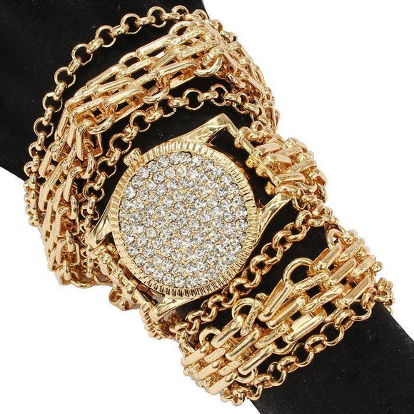 GOLD WATCH DESIGN CLEAR STONES BRACELET CLEAR STONES NECKLACE ( 2087 GDCLR )