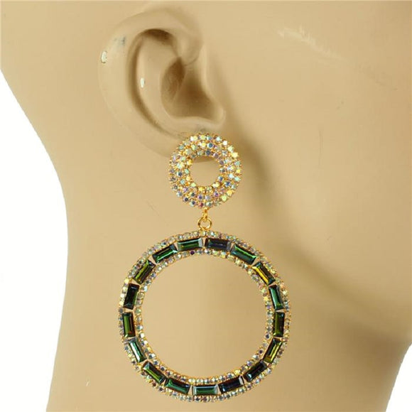 GOLD HOOP EARRINGS WITH GREEN AB STONES ( 6743 )