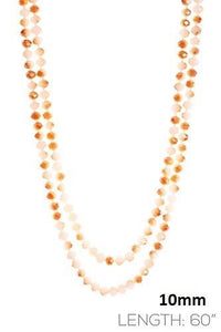 "Topaz 60"" 10mm Glass Beaded Necklace"