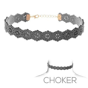 Gray Faux Leather Choker ( 15904 )
