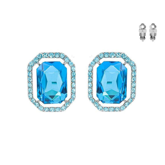 SILVER CLIP ON EARRINGS AQUA STONES ( 168 RAQ )