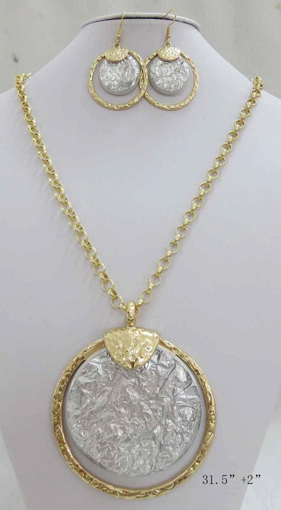 LONG GOLD NECKLACE SET SILVER STONES ( 3714 MGS ) - Ohmyjewelry.com