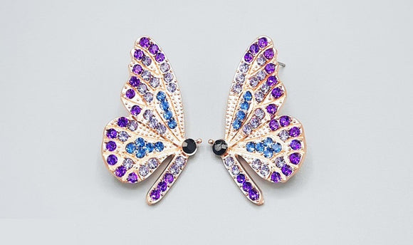 GOLD BUTTERFLY EARRINGS PURPLE STONES ( 2360 GDPU )