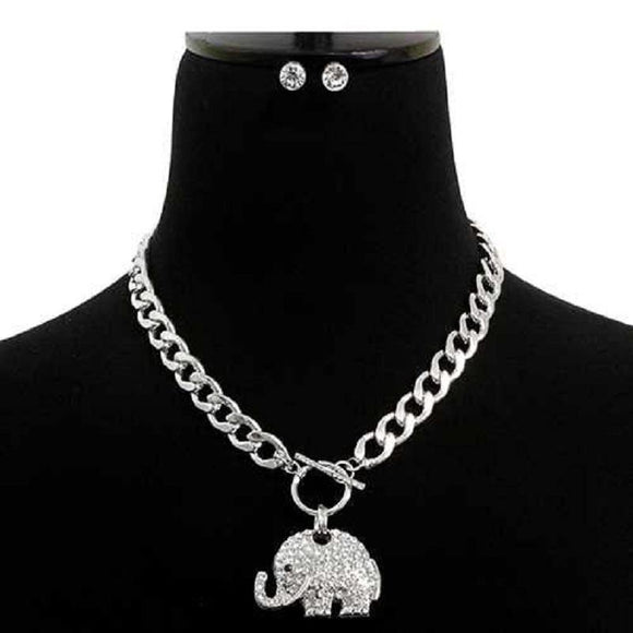 SILVER ELEPHANT NECKLACE SET CLEAR STONES ( 7177 RDCLR )