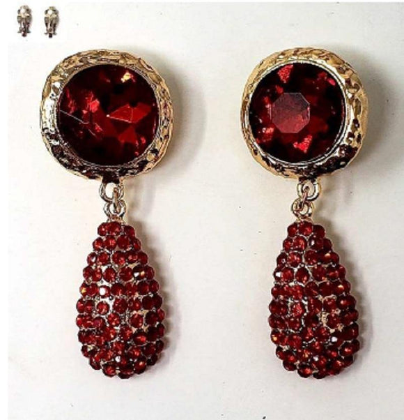 GOLD RED METAL EARRINGS CLIP ON ( 20001 )