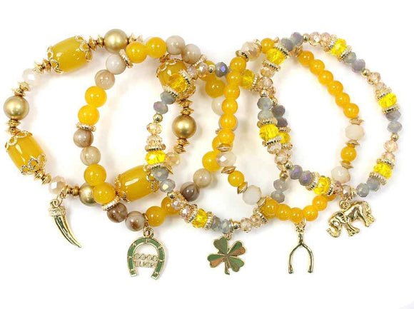 5 Layer Gold and YELLOW Beaded Elephant Theme Charm Stretch Bracelets ( 5153 )