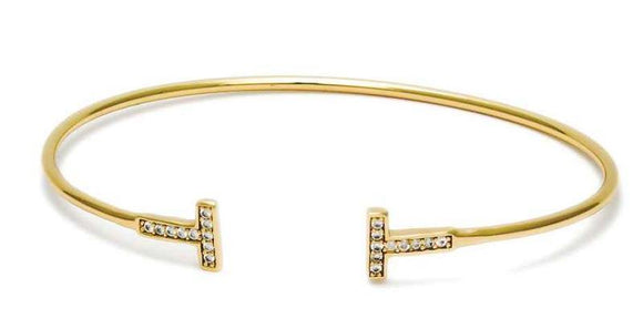GOLD CUFF BANGLE T CZ CUBIC ZIRCONIA STONES ( 5569 G )