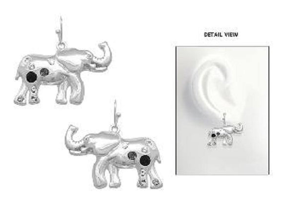 SILVER ELEPHANT EARRINGS CLEAR BLACK STONES ( 3785 ASBK ) - Ohmyjewelry.com