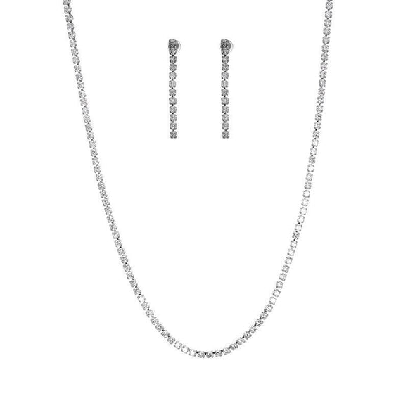 SILVER NECKLACE SET CLEAR CZ CUBIC ZIRCONIA STONES ( 16011 CRS )