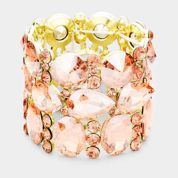 Gold Peach Oval, Teardrop, and Round Shape Formal Stretch Bracelet ( 0036 )