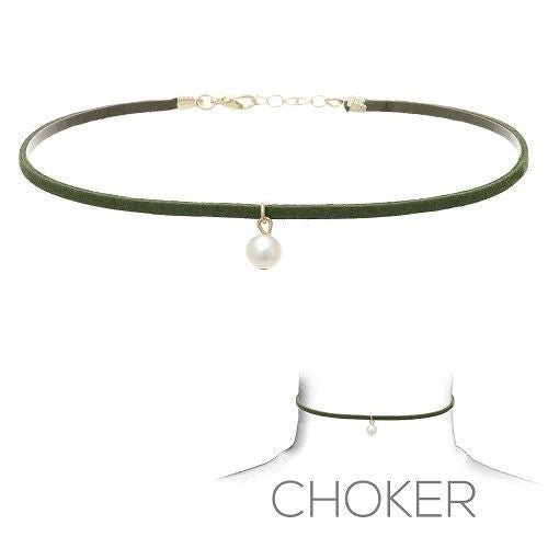 Olive Green Suede Choker with Dangling Pearl